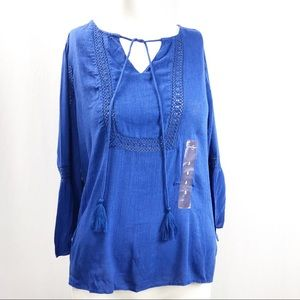 Jessica Simpson • Boho Peasant Blouse Blue
